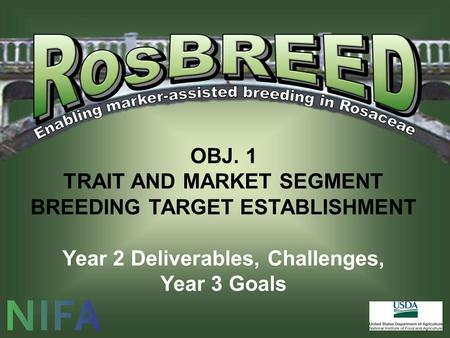 OBJ. 1 TRAIT AND MARKET SEGMENT BREEDING TARGET ESTABLISHMENT Year 2 Deliverables, Challenges, Year 3 Goals.