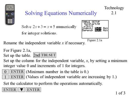 Solving Equations Numerically Figure 2.1a Rename the independent variable x if necessary. For Figure 2.1a, Set up the table. Set up the column for the.