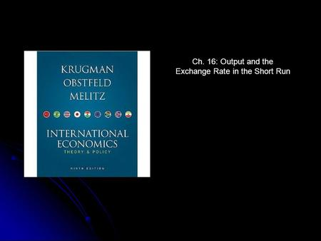 Ch. 16: Output and the Exchange Rate in the Short Run.