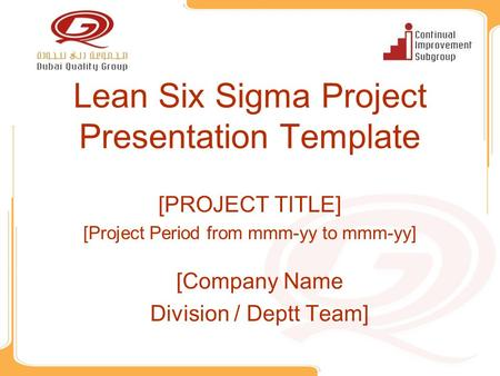 Lean Six Sigma Project Presentation Template