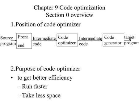 Chapter 9 Code optimization Section 0 overview 1.Position of code optimizer 2.Purpose of code optimizer to get better efficiency –Run faster –Take less.