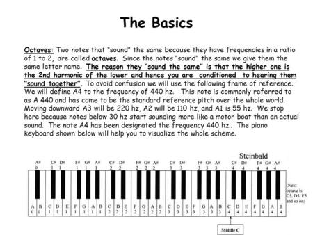"The Basics Octaves: Two notes that ""sound"" the same because they have frequencies in a ratio of 1 to 2, are called octaves. Since the notes ""sound"" the."