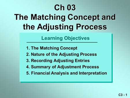 C3 - 1 Learning Objectives 1. The Matching Concept 2. Nature of the Adjusting Process 3. Recording Adjusting Entries 4. Summary of Adjustment Process 5.Financial.