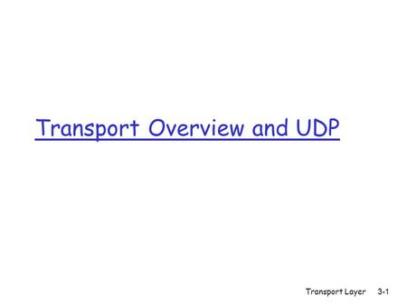 Transport Layer3-1 Transport Overview and UDP. Transport Layer3-2 Goals r Understand transport services m Multiplexing and Demultiplexing m Reliable data.