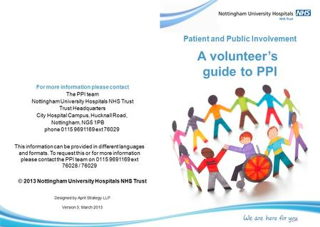 A volunteer's guide to PPI