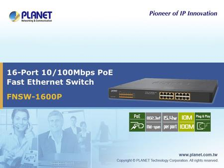 16-Port 10/100Mbps PoE Fast Ethernet Switch FNSW-1600P.
