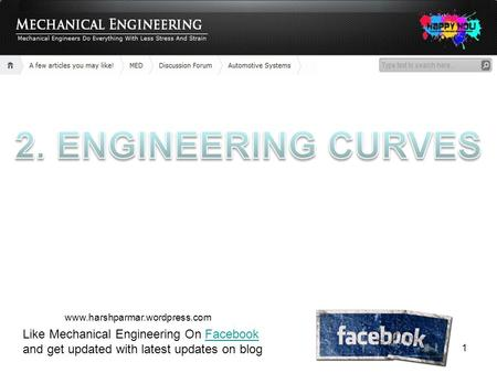2. ENGINEERING CURVES www.harshparmar.wordpress.com Like Mechanical Engineering On Facebook and get updated with latest updates on blog.