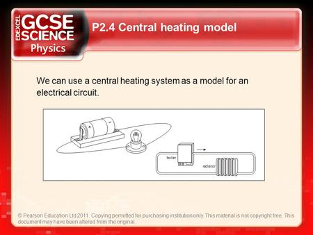 P2.4 Central heating model © Pearson Education Ltd 2011. Copying permitted for purchasing institution only. This material is not copyright free. This document.