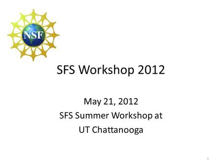 SFS Workshop 2012 1 May 21, 2012 SFS Summer Workshop at UT Chattanooga.