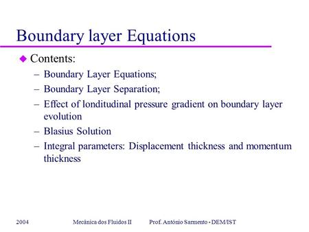 Boundary layer Equations
