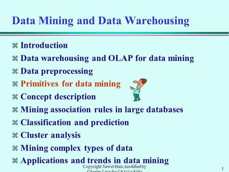 1 Copyright Jiawei Han; modified by Charles Ling for CS411a/538a Data Mining and Data Warehousing  Introduction  Data warehousing and OLAP for data mining.