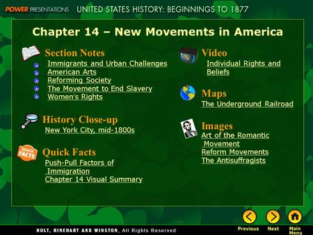 Chapter 14 – New Movements in America