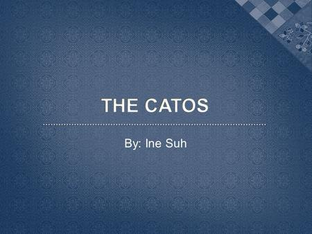 By: Ine Suh.  The Cato family was famous for its conservative roots in Roman politics  Cato the Elder and Cato the Younger are the most significant.