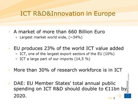1 ICT R&D&Innovation in Europe A market of more than 660 Billion Euro –Largest market world wide, (~34%) EU produces 23% of the world ICT value added –ICT,