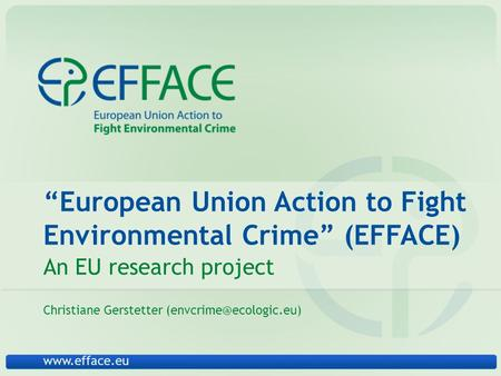 """European Union Action to Fight Environmental Crime"" (EFFACE) An EU research project Christiane Gerstetter"