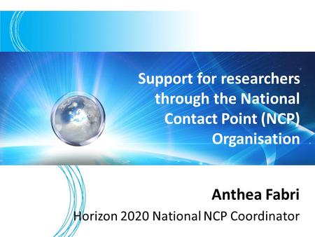 Anthea Fabri Horizon 2020 National NCP Coordinator