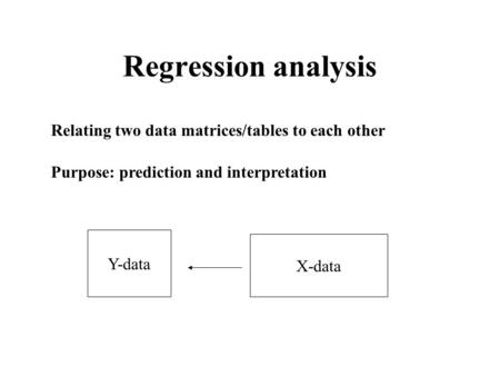 Regression analysis Relating two data matrices/tables to each other Purpose: prediction and interpretation Y-data X-data.