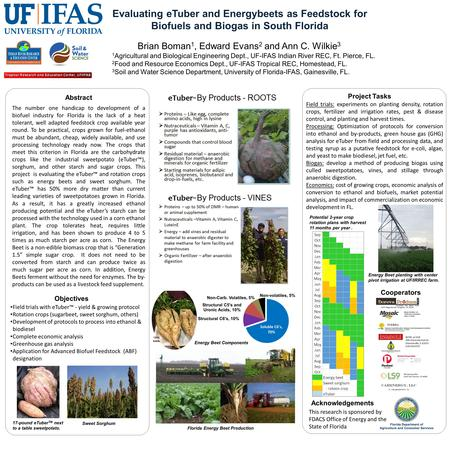 Evaluating eTuber and Energybeets as Feedstock for Biofuels and Biogas in South Florida Brian Boman 1, Edward Evans 2 and Ann C. Wilkie 3 1 Agricultural.