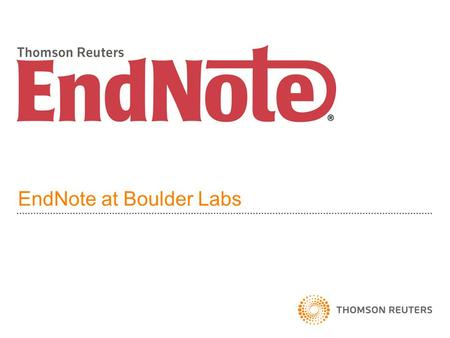 EndNote at Boulder Labs. EndNote Overview EndNote is a bibliographic database manager. Build a library of references Cite references in Word, OpenOffice.
