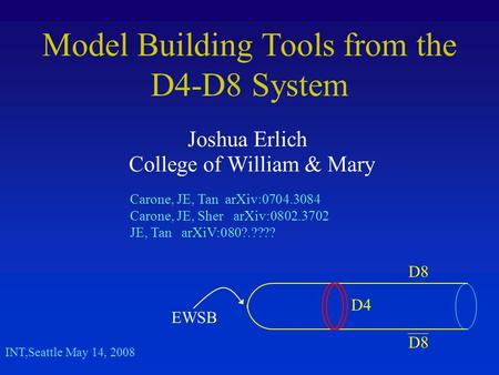 Model Building Tools from the D4-D8 System Joshua Erlich College of William & Mary INT,Seattle May 14, 2008 Carone, JE, Tan arXiv:0704.3084 Carone, JE,