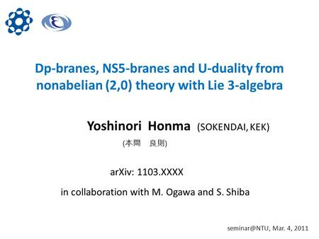 Dp-branes, NS5-branes and U-duality from nonabelian (2,0) theory with Lie 3-algebra Yoshinori Honma (SOKENDAI, KEK) in collaboration with M. Ogawa and.