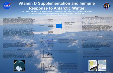 Vitamin D Supplementation and Immune Response to Antarctic Winter S.R. Zwart, 1 S.K. Mehta, 2 R. Ploutz-Snyder, 1 Y. Bourbeau, 2 J.P. Locke, 3 D.L. Pierson,