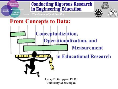 Larry D. Gruppen, Ph.D. University of Michigan From Concepts to Data: Conceptualization, Operationalization, and in Educational Research Measurement.