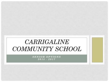 SENIOR OPTIONS 2015 - 2017 CARRIGALINE COMMUNITY SCHOOL.
