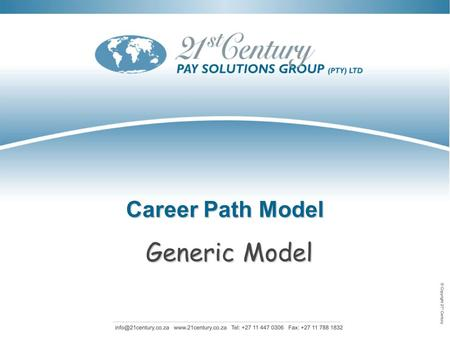Career Path Model Generic Model.