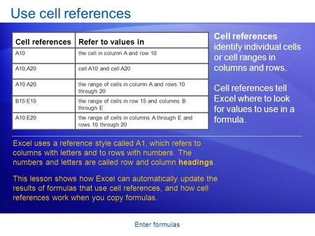 Enter formulas Use cell references Cell references identify individual cells or cell ranges in columns and rows. Cell references tell Excel where to look.