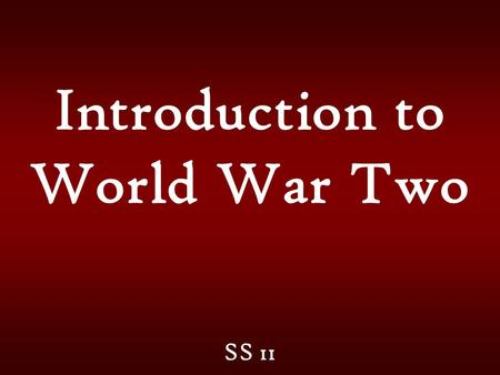 Introduction to World War Two