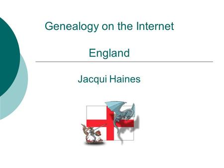 Genealogy on the Internet England Jacqui Haines. Major Types of Records  Census  Vital Records – Birth, Marriage, Death  Immigration/emigration records.