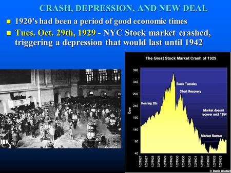 CRASH, DEPRESSION, AND NEW DEAL 1920's had been a period of good economic times 1920's had been a period of good economic times Tues. Oct. 29th, 1929 -
