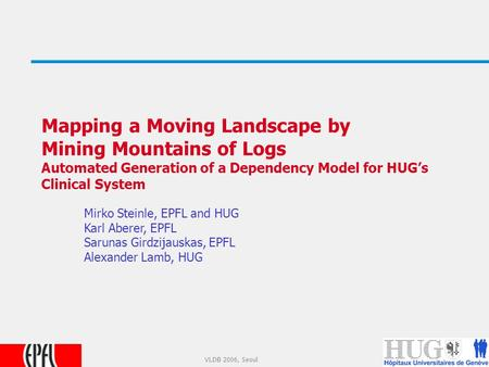 1 VLDB 2006, Seoul Mapping a Moving Landscape by Mining Mountains of Logs Automated Generation of a Dependency Model for HUG's Clinical System Mirko Steinle,