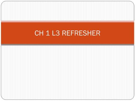CH 1 L3 REFRESHER. A custom is defined as ? An Unwritten law passed from one society to another.