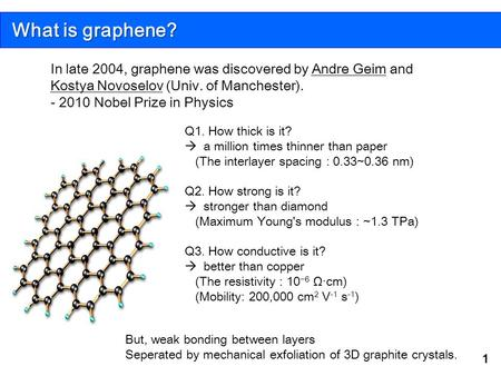 What is graphene? In late 2004, graphene was discovered by Andre Geim and Kostya Novoselov (Univ. of Manchester). - 2010 Nobel Prize in Physics Q1. How.