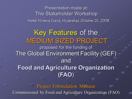 Presentation made at: The Stakeholder Workshop Hotel Minerva Grand, Hyderabad, October 25, 2008 Key Features of the MEDIUM SIZED PROJECT proposed for the.