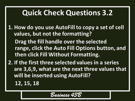 Quick Check Questions 3.2 Business 43B