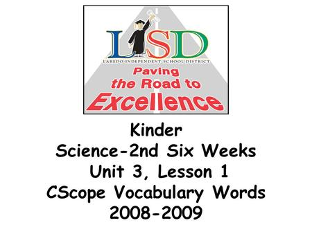 Kinder Science-2nd Six Weeks Unit 3, Lesson 1 CScope Vocabulary Words 2008-2009.