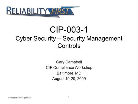 CIP Cyber Security – Security Management Controls