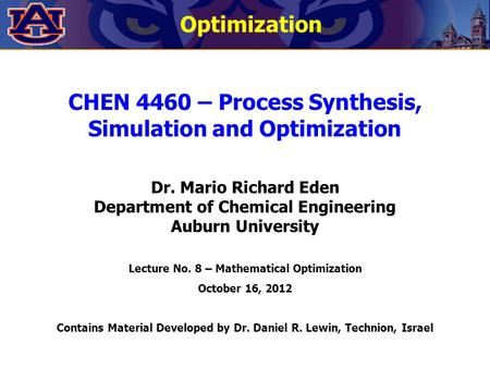 CHEN 4460 – Process Synthesis, Simulation and Optimization