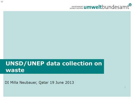 UNSD/UNEP data collection on waste DI Milla Neubauer, Qatar 19 June 2013 1 13.