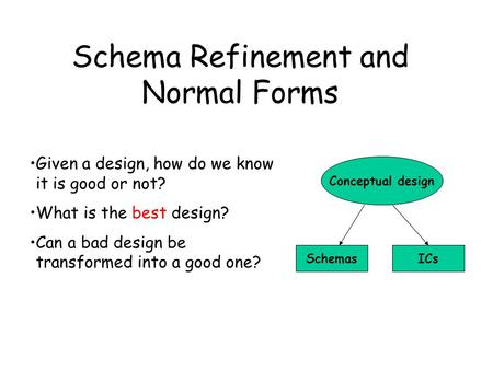 Schema Refinement and Normal Forms Given a design, how do we know it is good or not? What is the best design? Can a bad design be transformed into a good.