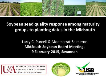 Soybean seed quality response among maturity groups to planting dates in the Midsouth Larry C. Purcell & Montserrat Salmeron MidSouth Soybean Board Meeting,