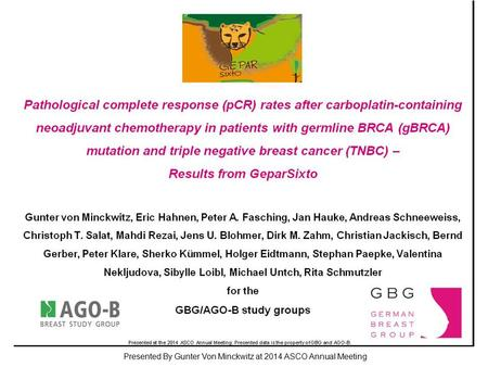 Pathological complete response (pCR) rates after carboplatin-containing neoadjuvant chemotherapy in patients with germline BRCA (gBRCA) mutation and triple.
