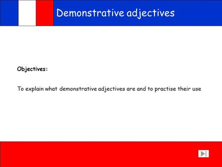 Demonstrative adjectives Objectives: To explain what demonstrative adjectives are and to practise their use.