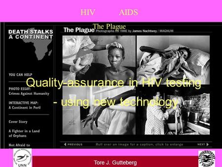 HIV AIDS The Plague Tore J. Gutteberg Quality-assurance in HIV testing - using new technology.