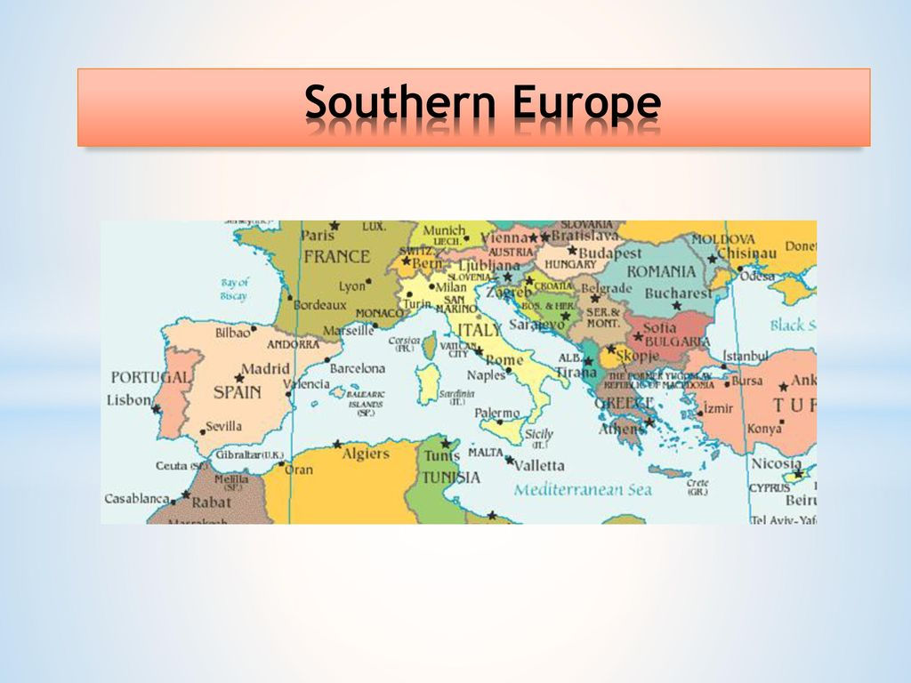 map of southern europe and mediterranean Southern Europe The region of Southern Europe, also called