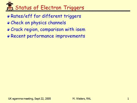 UK egamma meeting, Sept 22, 2005M. Wielers, RAL1 Status of Electron Triggers Rates/eff for different triggers Check on physics channels Crack region, comparison.