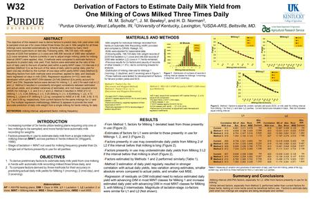 ABSTRACT The objective of this research was to derive factors to predict daily milk yield when milk is sampled once per d for cows milked three times (3x)